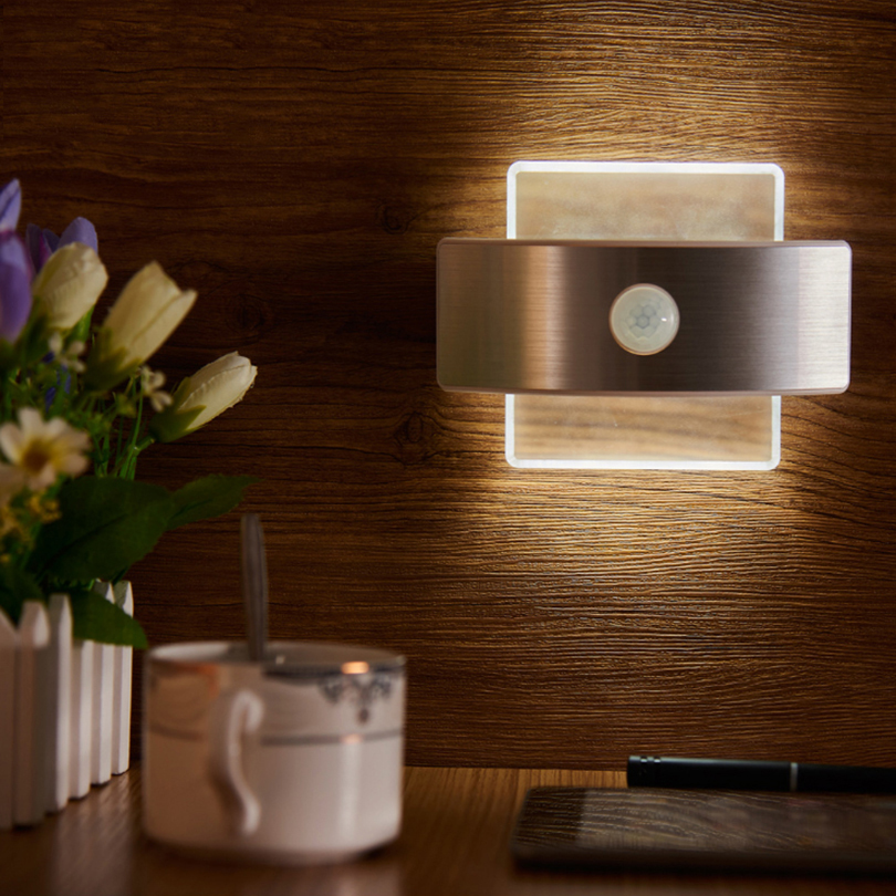 Infrared Motion Sensor LED Night Light battery+USB charger power LED Wall Lamp for Bedroom Cabinet S