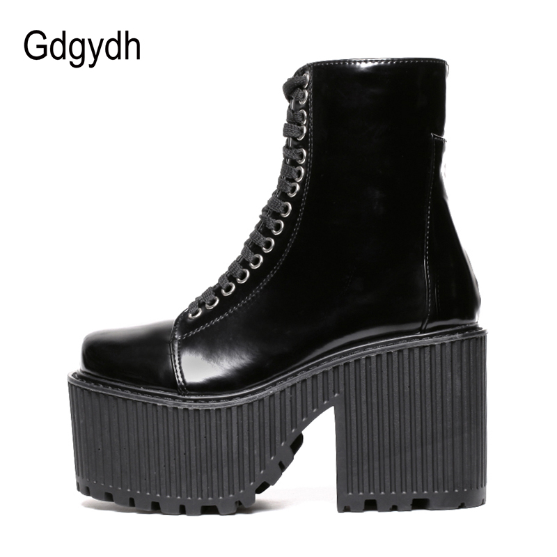 Image 4 - Gdgydh Fashion Ankle Boots For Women Platform Shoes Punk Gothic Style Rubber Sole Lace Up Black Spring Autumn Chunky Boots Woman-in Ankle Boots from Shoes