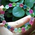 Alta Qualidade Natural Top Grade Genuine Colorido Verde Roxo Rosa Azul Turmalina Multi-cor Estiramento Pulseira Rodada Beads 7.5mm