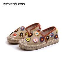 6c28ea4f97f45 CCTWINS ENFANTS 2018 Automne Enfants Mode Espadrille Noire Bébé Fille Marque  Slip Sur Chaussures Enfant En