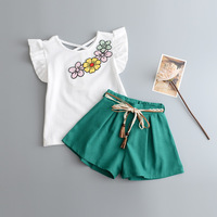 2017 new summer fly t shirt+pants 2pcs girls clothes set casual toddler girl outfits ropa mujer kids clothing suit for 2~7 age