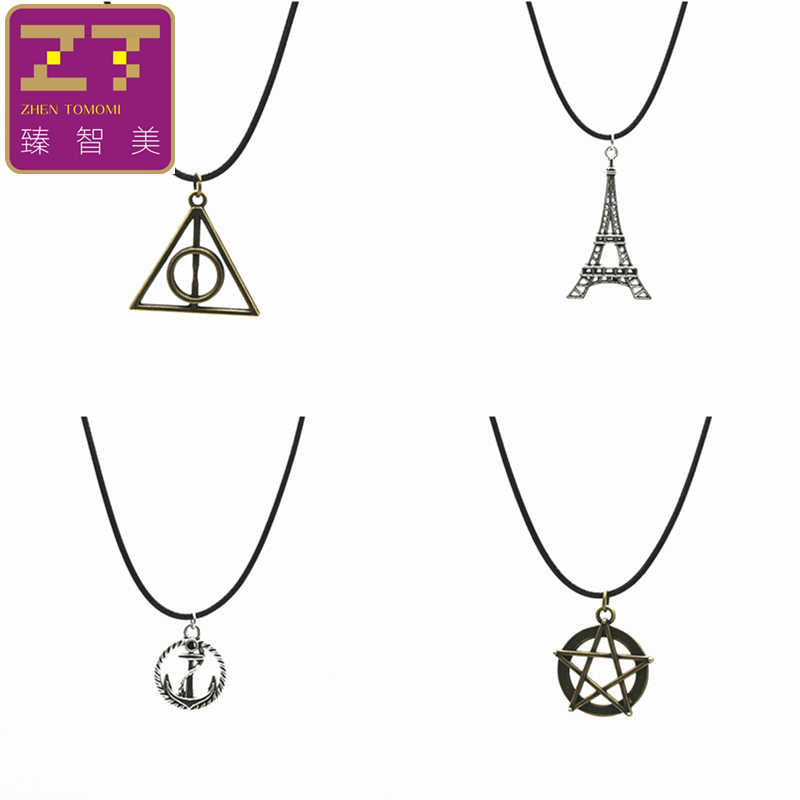 Hot New Chokers Necklaces Retro Eiffel Tower In Paris Anchor Peace Triangle Pendant Necklace For Women 2019 Jewelry Bijoux