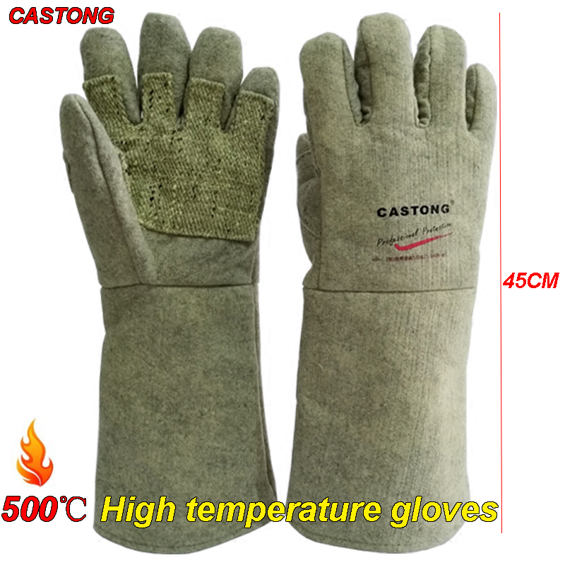CASTONG 500 Degree High Temperature Gloves 45cm Thickening Fire Gloves Oven Boiler Steelmaking Anti-scald Protection Gloves