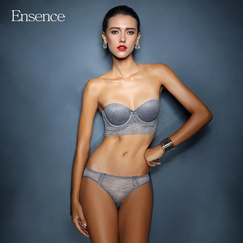 0a67057ca5 Ensence Lace Sexy Lingerie Push Up Strapless Bra Set Underwear Women ...