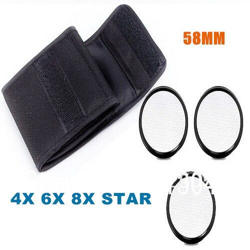 3pcs/lot 58mm Star cross Kit set 4X 6X 8X filter, 4PT+ 6PT+ 8PT Filter + bag wallet for all dslr camera canon nikon 58 mm LENS