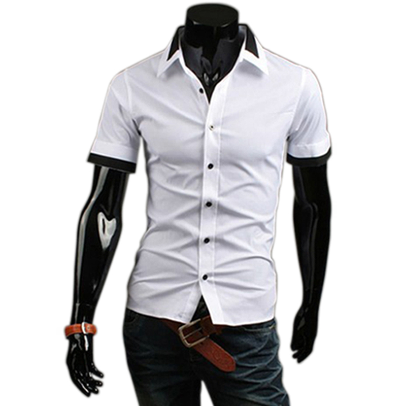 Mens Double Collar Slim Fit Short Sleeve Shirts Casual Dress Formal Shirt Top