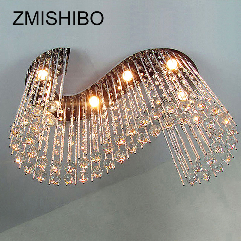 ZMISHIBO Luxury Clear Crystal Ceiling Pendant Lamp S Shape 80*30*60CM 6pcs Gu10 Bulbs Surfaced Mounted Lighting For Living Room