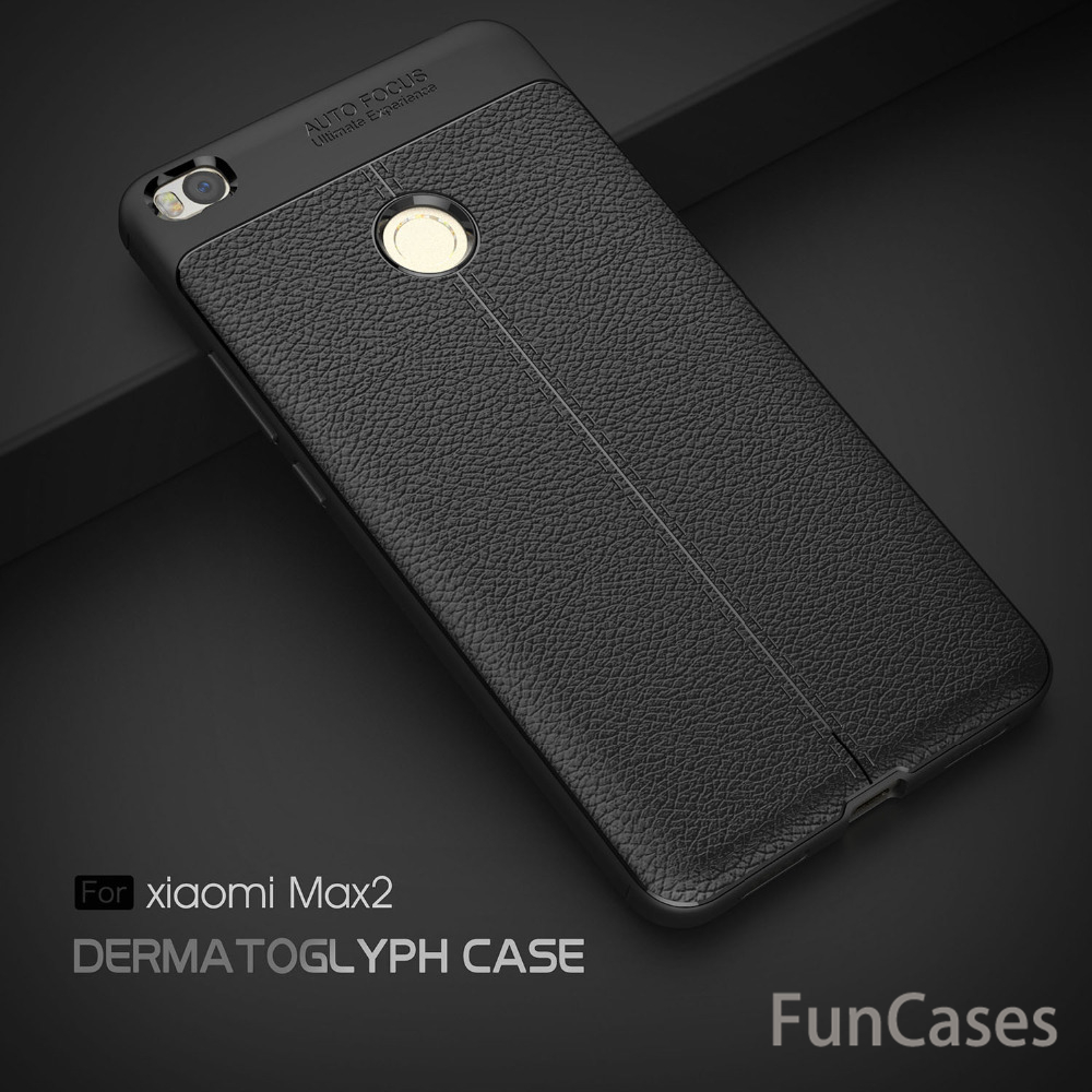 For Xiaomi <font><b>Max</b></font> <font><b>2</b></font> Case Matte Litchi Leather Grain+Carbon Fiber Luxury Silicone TPU Phone Cases Back Cover Protect Skin Case Shell image