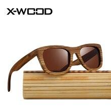 X-WOOD Cuadrado Retro Zebra Wood gafas de Sol de Los Hombres gafas de Sol de Las Mujeres gafas de Sol Polarizadas gafas de Sol de Los Hombres Gafas de sol hombre