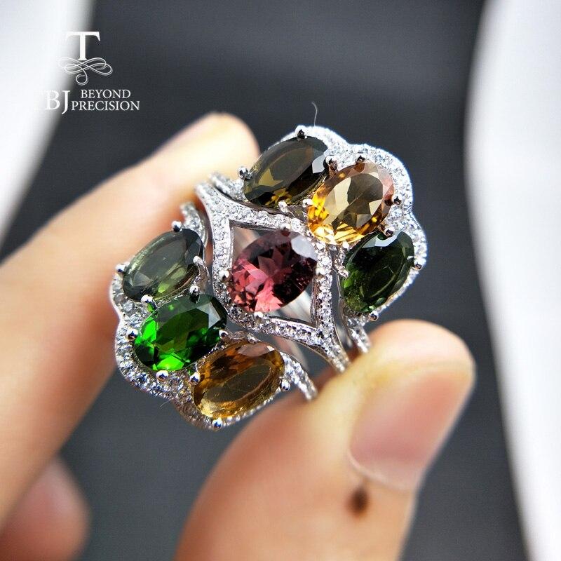 TBJ, Natürliche multicolor turmalin edelstein ring 925 sterling silber schmuck mode ringe für frauen jahrestag hochzeit party-in Ringe aus Schmuck und Accessoires bei  Gruppe 1