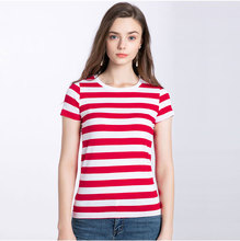 Red White Striped T Shirt for Women Colorful Tees for Women Long Sleeve Round Neck Summer Casual Black White Stripes Cool цена и фото