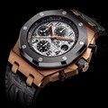 DIDUN mens watches top brand luxury Men Sport Quartz Watch  Full Steel military Wristwatch  Leather strap Watch Chronograph