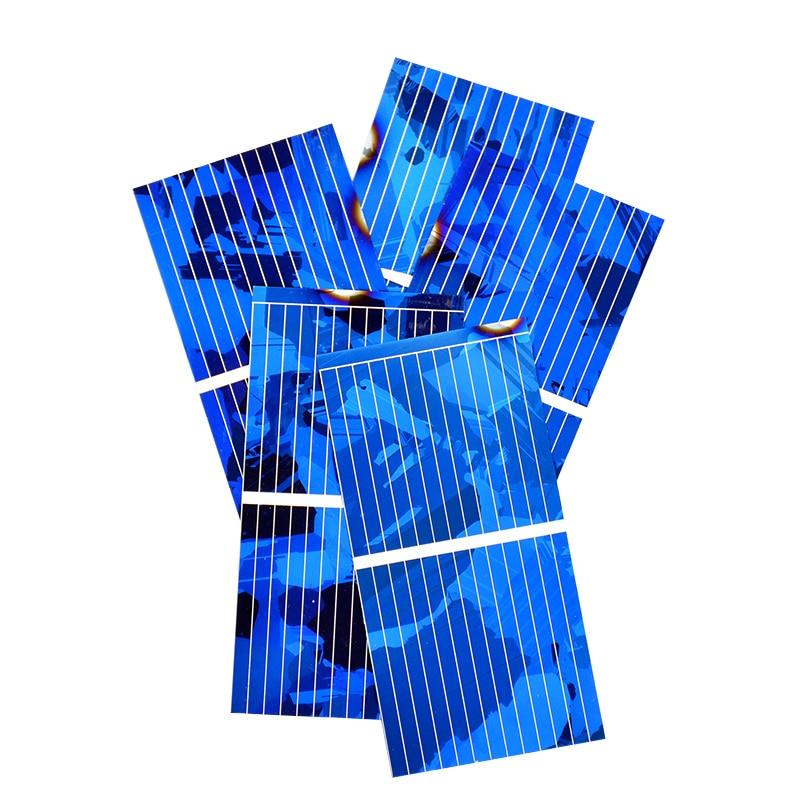 Aoshike 0.5V 0.45A Solar Panel Polycrystalline Silicon Solar Cells Solar Module DIY Solar Sunpower Charger Power 52*26mm 100pcs 2