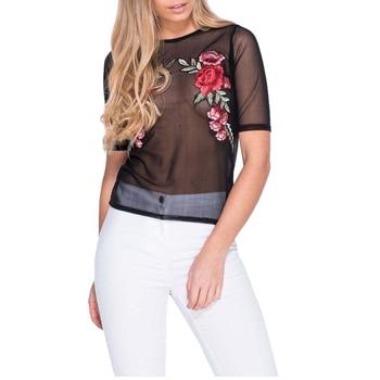 Simply summer beach embroidery short top tees transparent mesh crop top club short sleeve women tops.jpg 350x350