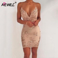 ADEWEL 2017 Sexy Deep V Spaghetti Strap Women Club Party Sequined Dress Vintage Floral Embroidery Mini Bodycon Dress Vestidos