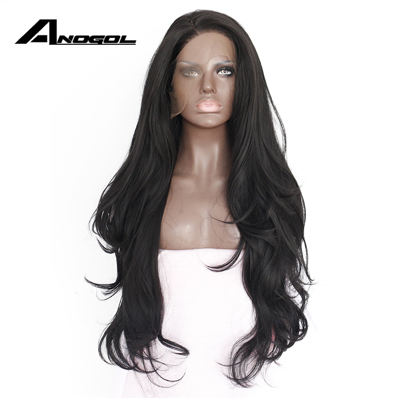 Anogol Natural Hairline Glueless High Temperature Fiber Hair Wigs Swiss Long Wavy 1 Black Synthetic Lace