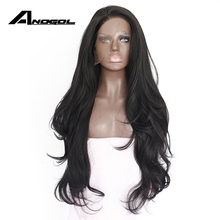 Anogol Natural Hairline Glueless High Temperature Fiber Hair Wigs Swiss Long Wavy 1# Black Synthetic Lace Front Wig for Women(China)