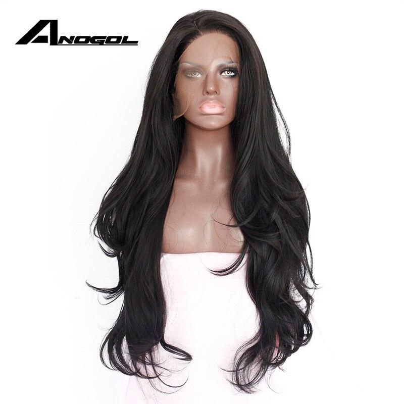 Anogol естественно волосяного покрова бесклеевого высокое Температура Волокно волос Искусственные Парики Швейцарский длинные волнистые 1 # черный синтетический Синтетические волосы на кружеве парик для Для женщин