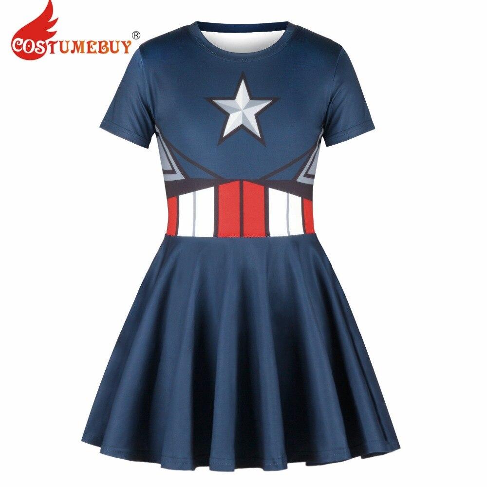 CostumeBuy Whole Sale The Avengers Cosplay Costume Dress Girls Captain America Dress Princess Child Dress L920