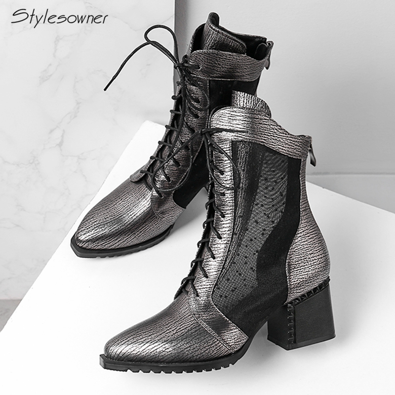 Stylesowner Genuine Leather Laces Women Boots Chunky Heels Mesh Short Boots Big Size Ladies Shoes 2018 New Arrival See Through see through mesh kimono