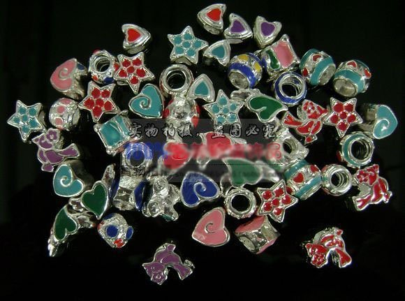 Free shipping! elegant heart round star mixed 925 beads enamel 200pcs/lot