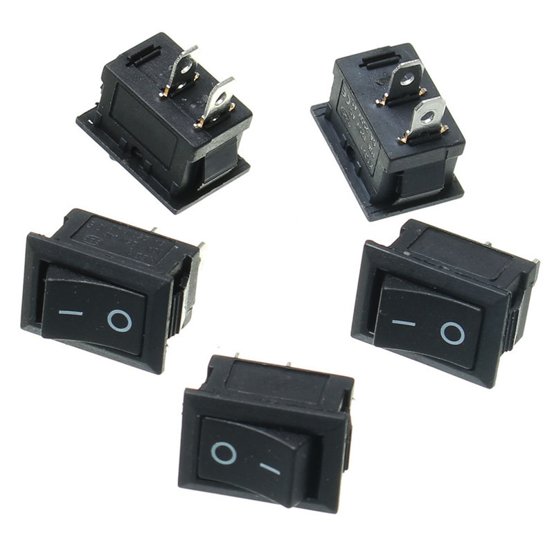 5PCS Black Push Button Mini Switch 6A-10A 250V KCD1-101 2Pin Snap-in On/Off Rocker Switch 21*15MM 10pcs ac 250v 3a 2 pin on off i o spst snap in mini boat rocker switch 10 15mm