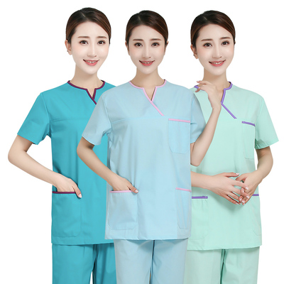 Hand-washing clothes short-sleeved doctor's suit pure cotton surgical hand-washing clothes white gown split suit for nurse