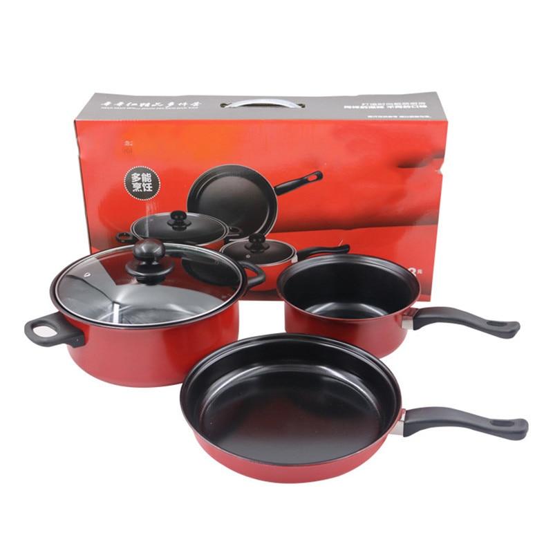 Belle batterie de cuisine rouge ensemble de 3 casseroles en acier inoxydable poêle antiadhésive marmite chaude écologique avec cache-Pot