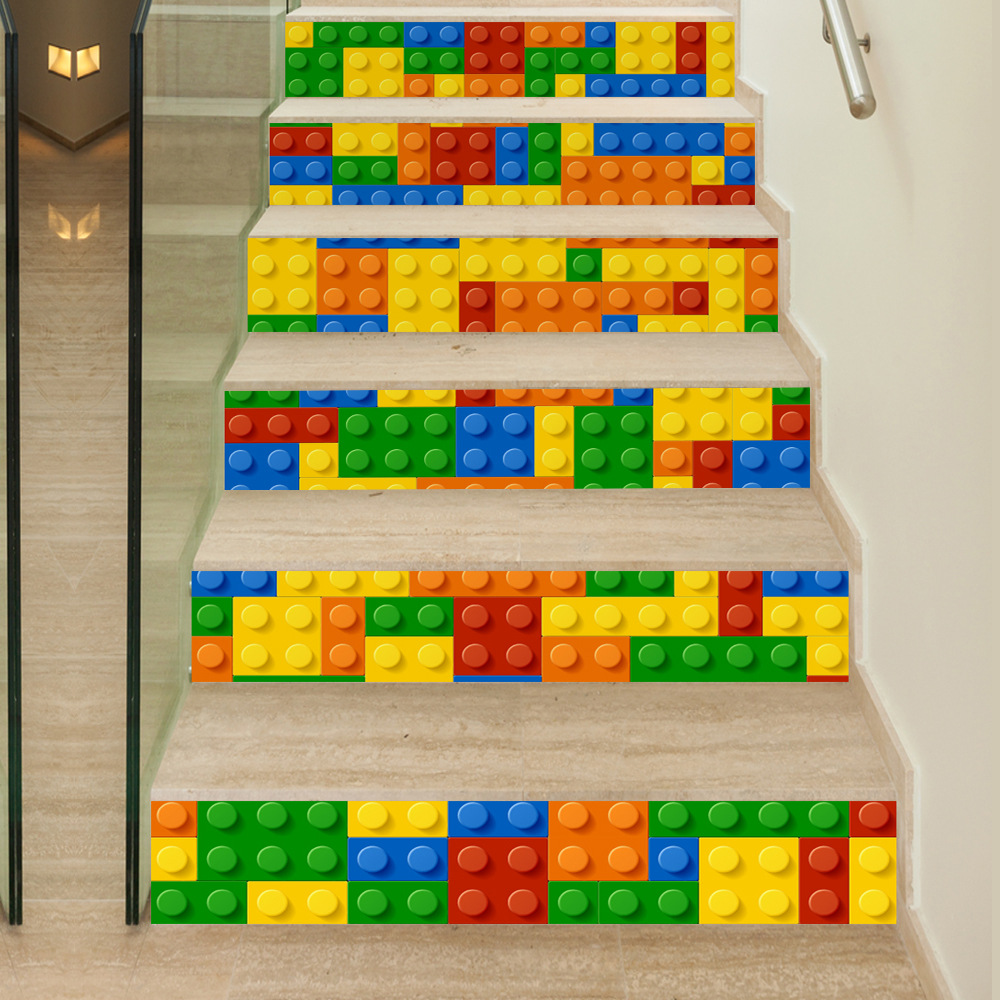 6Piece/Set 18*100CM Children Play LEGO Pattern 3D Stairs Stickers Modern Muurstickers Ho ...