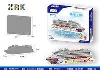 4950pcs Challenge ZRK Mini Blocks Big Size Cruise Ship Model Building Bricks Cruise Liner Assembly Toys