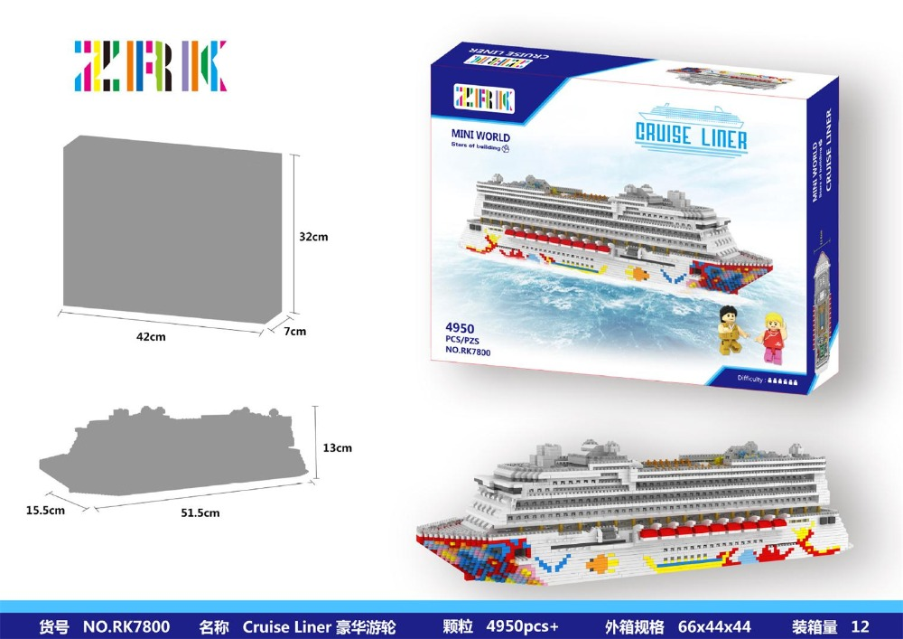 4950pcs Challenge ZRK Mini Blocks Big size cruise ship Model Building Bricks Cruise Liner Assembly Toys for Children Luxury Gift 1500 2200 pcs big size plastic cute cartoon designs of mini nano blocks diamond mini block toys for children diy game