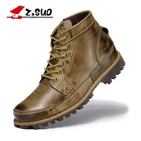 2018 Autumn Men's Genuine Leather Boots Working Boots Mountain Shoes Vintage Oxford Ankle Boots High Quality Boots Men