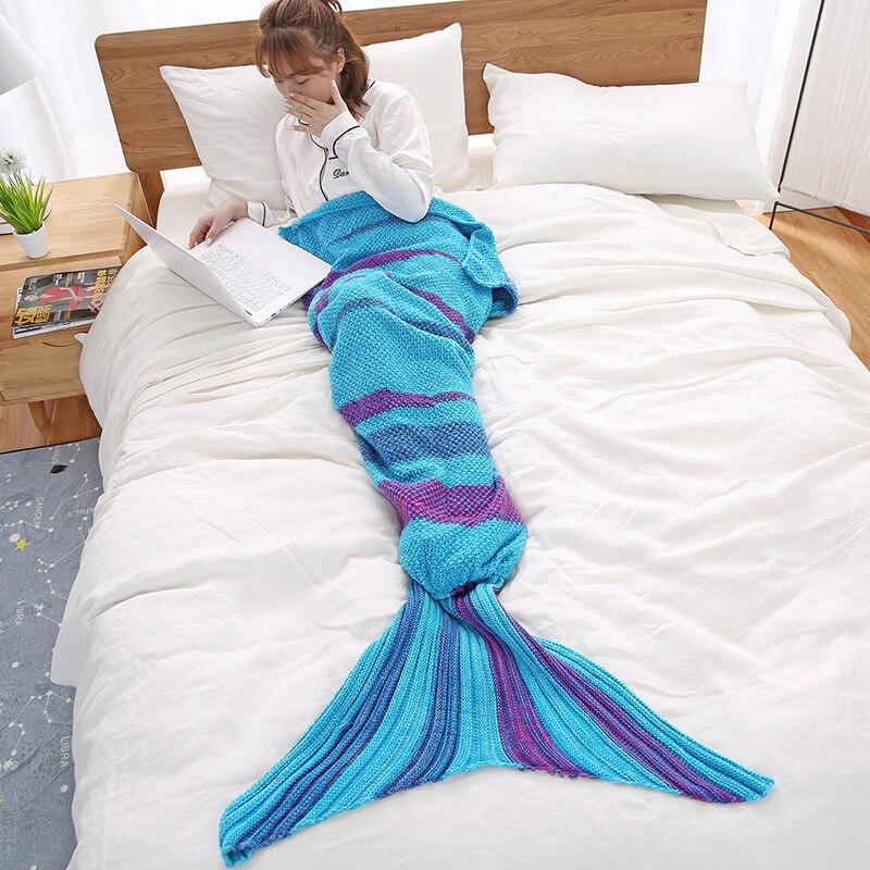 2020 New Keep Warm Mermaid Tail Blanket Sweet Adult And Kids Cute Comfortable Crochet Flower Seasons Sleeping Knitted Blankets