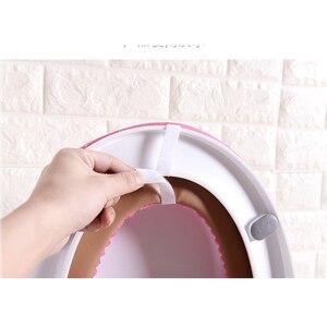 Image 5 - 38 cm X 43 cm velours cuir lavable doux coussin de toilette tapis de toilette épais tricoté accessoires de salle de bain Standard housse de siège de toilette