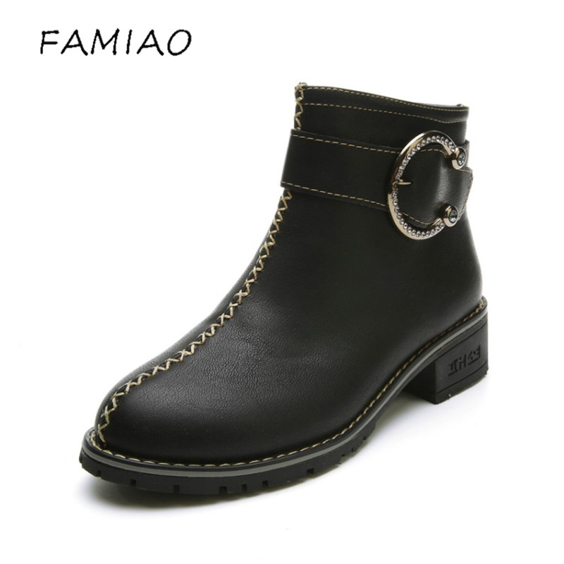FAMIAO women boots metal black 2017 buckle round toe low heel zip ankle boots for women spring autumn fashion black shoes fall low heel black side zip boots ankle metal booties short flat 2017 shoes ladies round toe female fashion new chinese