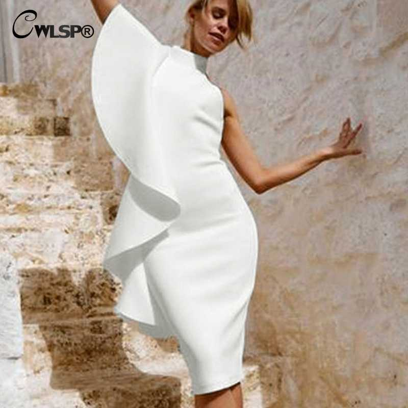 e256e89a761 ... CWLSP White One Shoulder Knee-Length Summer Woman Dress Split Slim  Dresses High Waist Backless ...