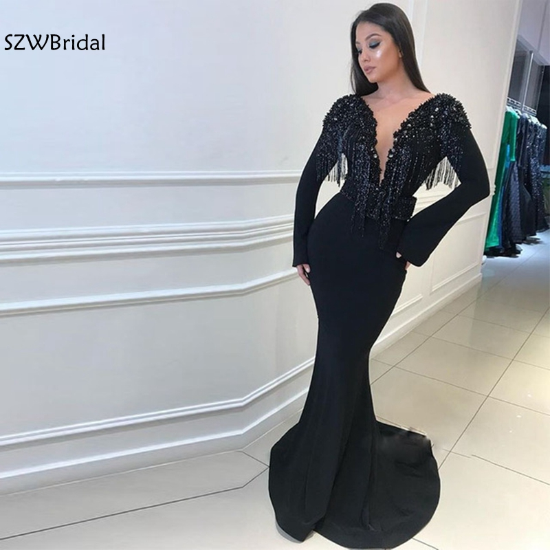 Elegant V Neck Black Mermaid   evening     dresses   Long sleeve 2019 Crystals Beaded   Evening   gowns Robe de soiree abiye Formal   dress