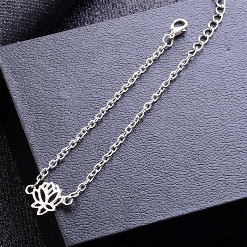 エレガントな蓮のための花のアンクレット女性スリヴァー色足チェーンジュエリーインド仏お守りシックガールベストギフトホット