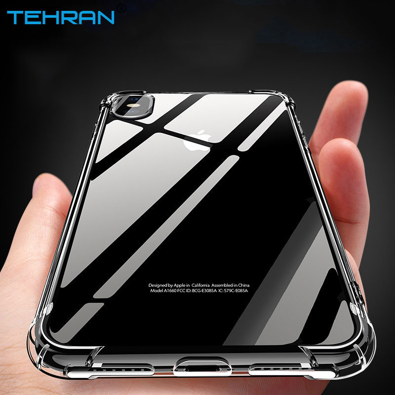finest selection 1b7e6 17f64 US $1.49 40% OFF|TEHRAN Anti knock Transparent Silicone Soft Clear  Shockproof Phone Case Cover For iPhone X 10 8 7 6 Plus 5 SE Protector  Shell-in ...
