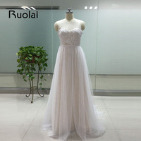 Real Image 2016 Wedding Dress Scoop A Line Appliques Ribbon Tulle White Ivory Wedding Dress Bridal