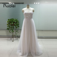 Real Image 2016 Wedding Dress Scoop A-Line Appliques Ribbon Tulle White/Ivory Wedding Dress Bridal Gowns Vestido de Novia FE38