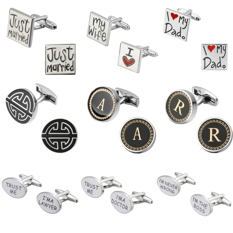 Fashion design letter I love my wife I love my father on fathers Day Wedding Cufflinks Copper material man shirt Cufflinks ...