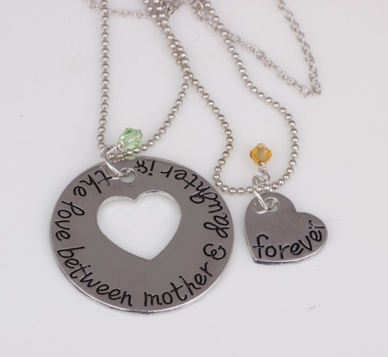 Ypq0252 Hand Stamped Mother Daughter The Love Between Mother