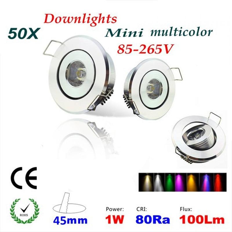 50pcs/lot Dimmable/ Red Ac85-265v 1w 3w Mini Led Spot Downlight Cabinet Lamp Ktv Bar Free Shipping 100% Original Bule/ Green Yellow