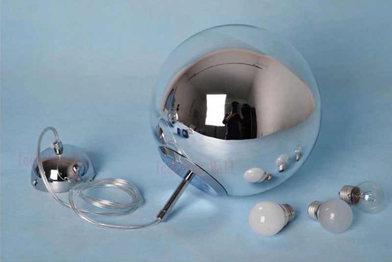 Luces colgantes de bola de espejo cromado moderno lámpara de bola con burbujas de cristal iluminación para comedor