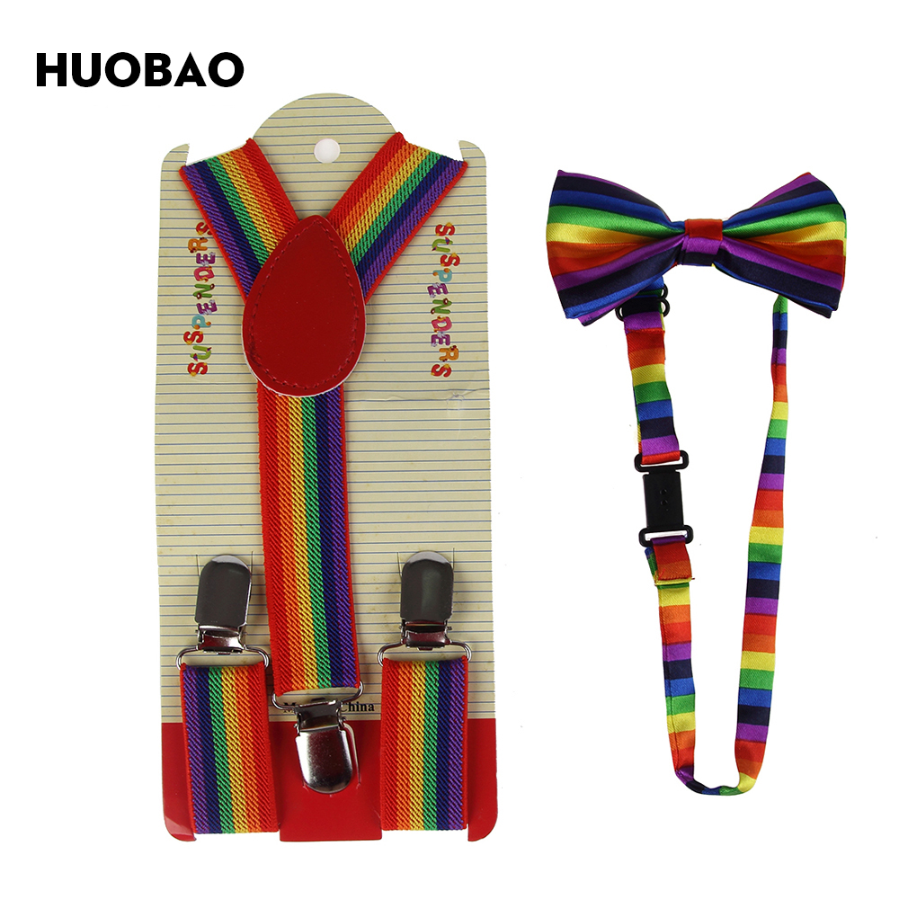 HUOBAO 2019 Red Rainbow Striped Suspenders Bowties Sets For Kids Children Boys Girls