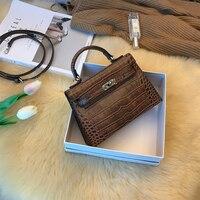 [Hely coptar] обновить поколение 2 маленьких мини сумка Для женщин Сумки на плечо крест кожа Мода из натуральной коровьей кожи аллигатора серебро