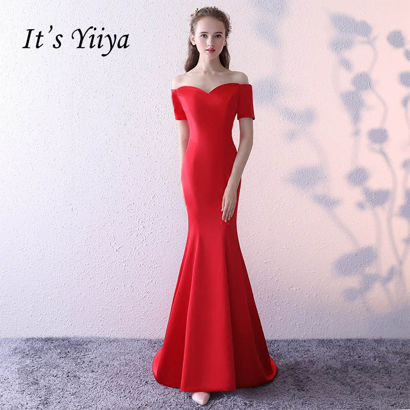 It's YiiYa Red Popular Short Sleeve Boat Neck   Prom   Frock Simple Satin Mermaid Floor Length Lace Up Romantic   Prom     Dresses   L048