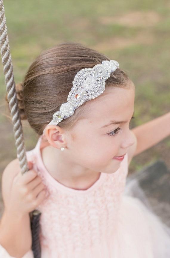 pearls rhinestone children s wedding headbands princess party hairbands baby girls hair accessories headwear dejorchicoco in hair accessories from