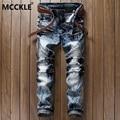MCCKLE Fashion Mens Denim Biker Jeans  Hip Hop Jeans Pant  Male Multi Zipper Slim Fit Washed Motorcycle Denim Trousers